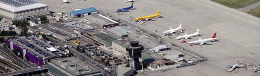 Airport and Ski Resort Listings - Picture: View of Geneva Airport from Helicopter - Geneva Contrin International Airport