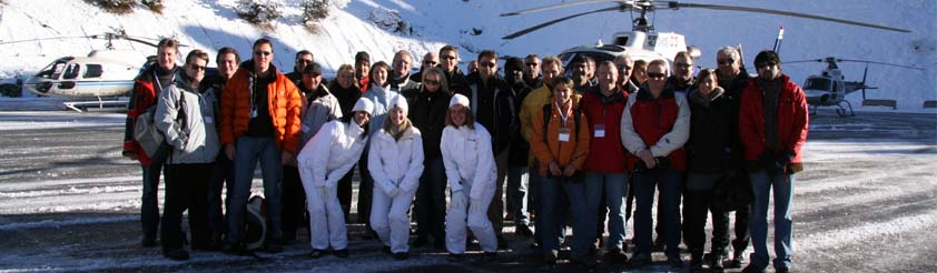 Helicopter Events - Picture: 25 Clients, 5 Helicopters from Geneva to La Plagne to take part a days activities at the Olympic Bobsleigh Track